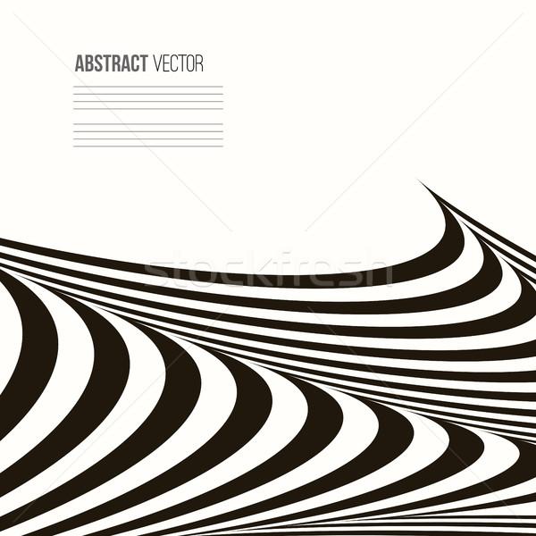 Ondulato vettore abstract stripe disegno geometrico bianco nero Foto d'archivio © ESSL