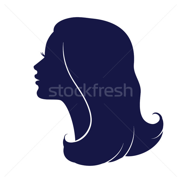 Stock photo: Woman face profile. Female head silhouette.