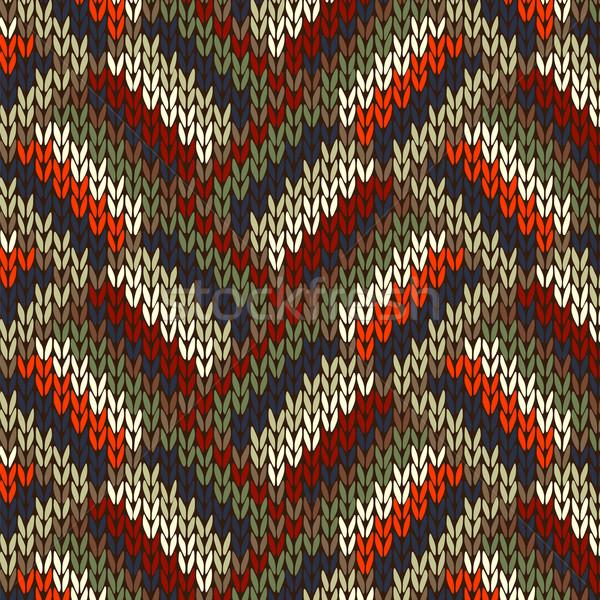 Tricoté modèle style rouge bleu Photo stock © ESSL
