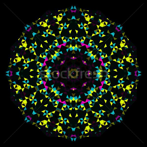 Abstract Geometric Bright Kaleidoscope Pattern. Round Flower Ornament Stock photo © ESSL