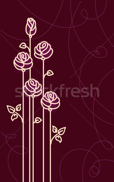 Card with Stylized Roses. Vector Graphic Stock photo © ESSL