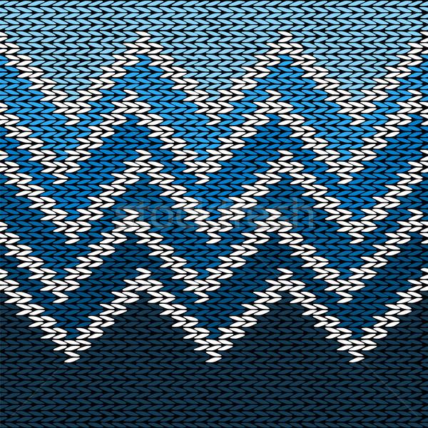 Bezszwowy trykotowy stylizowany geometryczny wzór fali wody Zdjęcia stock © ESSL
