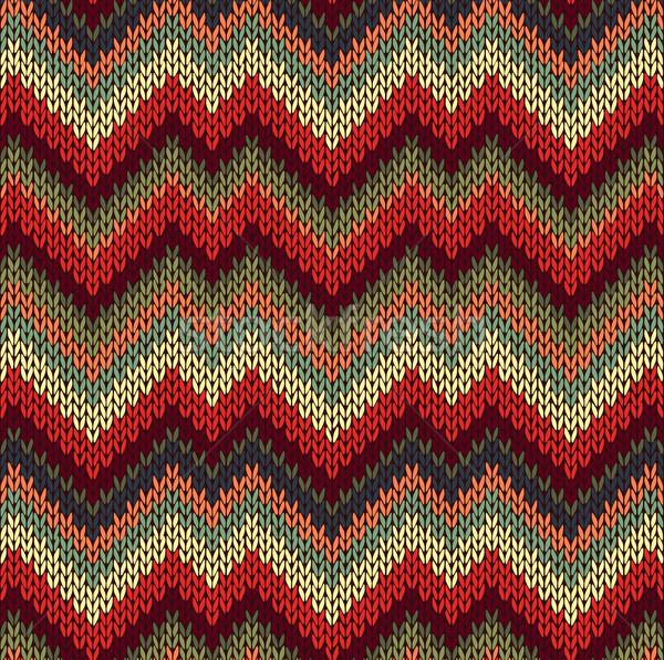 ストックフォト: スタイル · シームレス · 編まれた · パターン · 赤 · 青