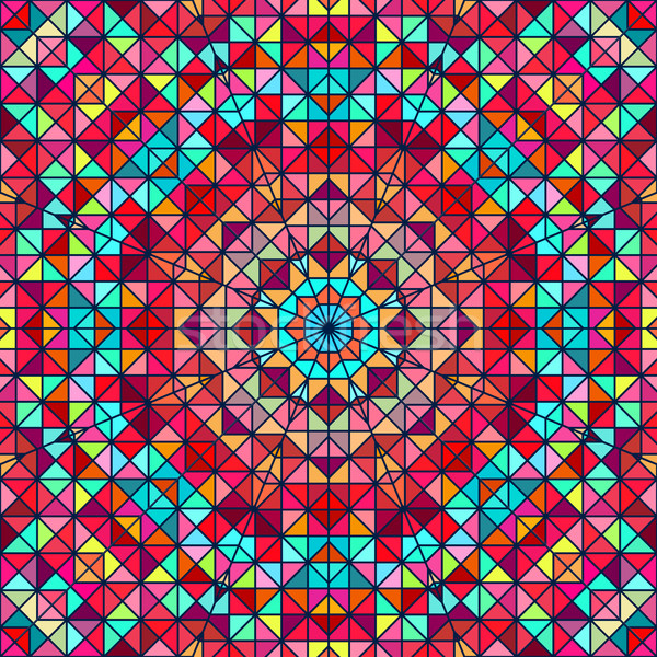 Abstract Colorful Digital Decorative Flower. Geometric Contrast Line Star and Blue Pink Red Cyan Col Stock photo © ESSL