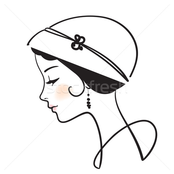 Stock photo: beautiful woman face with hat vector illustration