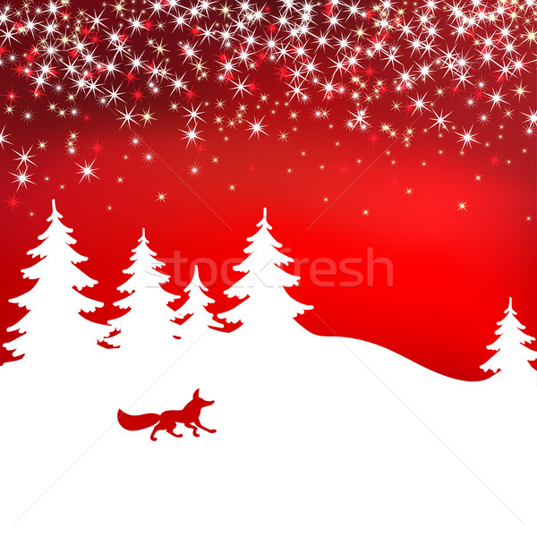 Christmas background. Winter landscape with fox. White fairy forest. Stock photo © ESSL
