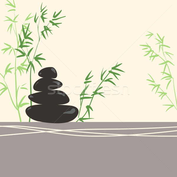 Spa Concept Stylized Zen Basalt Stones with Green Bamboo and Lea Stock photo © ESSL