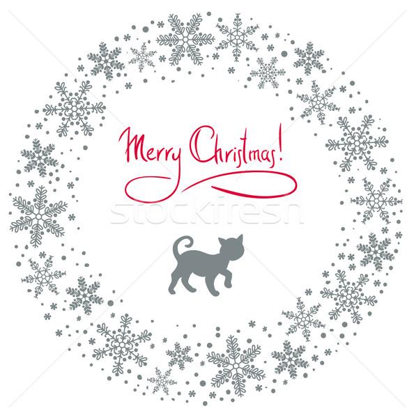Vecteur Noël couronne chat flocons de neige neige Photo stock © ESSL