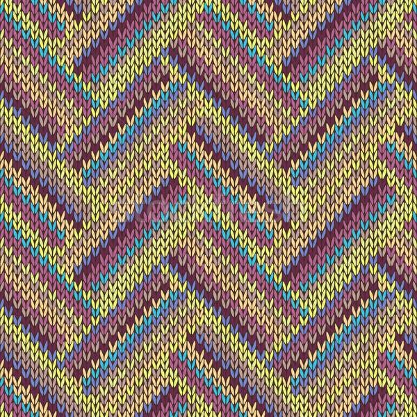 Seamless knitted pattern. Multicolored repeating tribal template Stock photo © ESSL