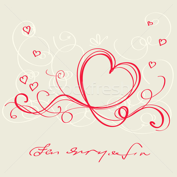 Stock photo: Heart red ribbon. Valentine`s day card