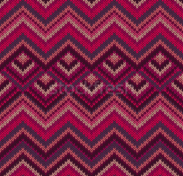Beautiful Knitted Fabric Pattern, Red Pink Knit Style Seamless V Stock photo © ESSL
