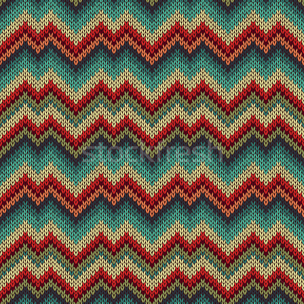 Retró stílus végtelenített kötött minta kék zöld Stock fotó © ESSL