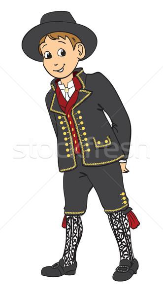 Garçon traditionnel costume visage heureux Photo stock © ESSL