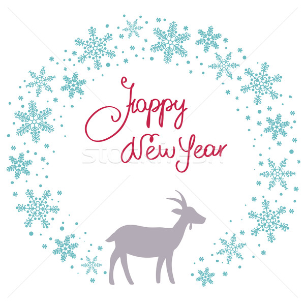 Christmas snow garland background with goat Stock photo © ESSL