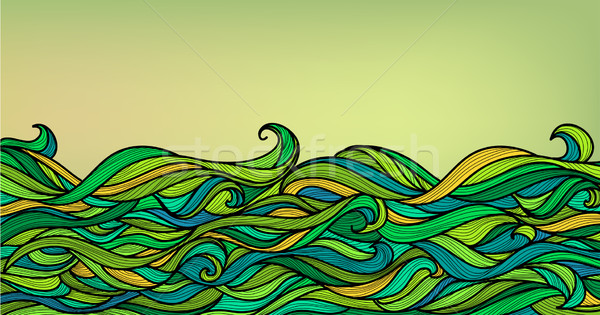 Abstract Waves Background, Vector Blue Green Orange Colorful Han Stock photo © ESSL