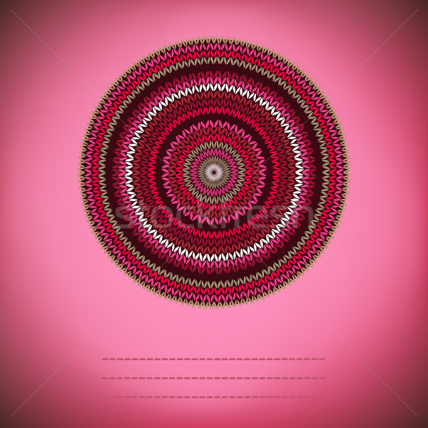 Stock photo: Cover Background with Ornamental Round Knitted Pattern, Style Ci