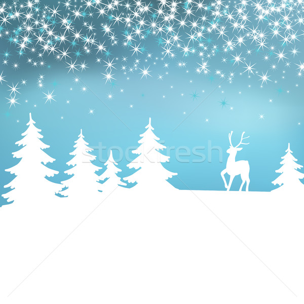 Christmas background. Winter landscape with deer. White fairy forest. Stock photo © ESSL