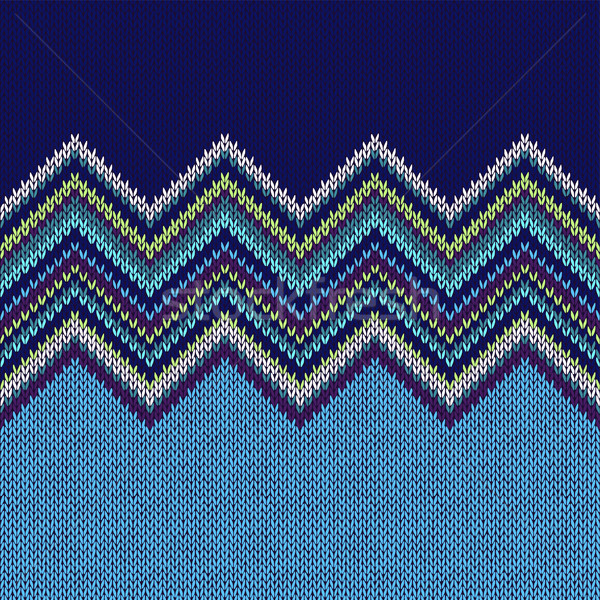 Seamless Ethnic Geometric Knitted Pattern. Style Blue White Gree Stock photo © ESSL