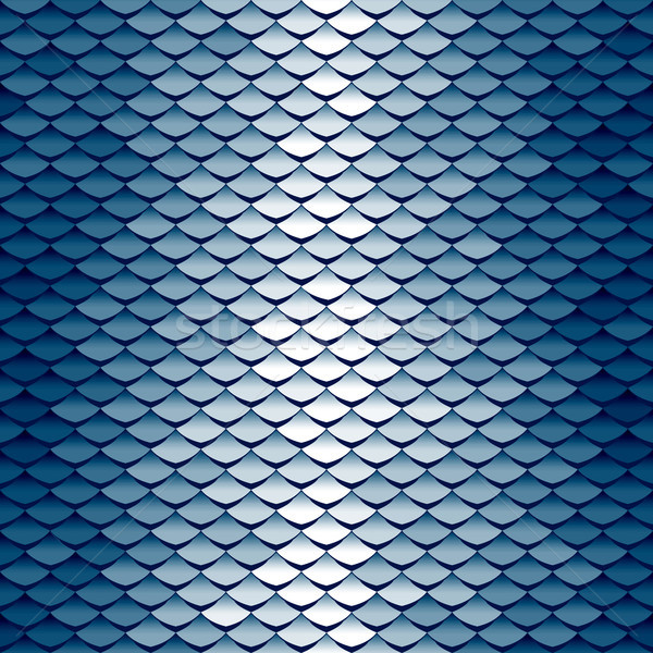 Seamless scale pattern. Abstract roof tiles background. Blue squama texture Stock photo © ESSL