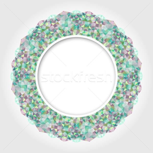 Abstract White Round Frame with Multicolor Emerald Digital Borde Stock photo © ESSL