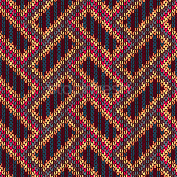 Seamless Knitted Pattern. Yellow Orange Red Blue Brown Color Bac Stock photo © ESSL