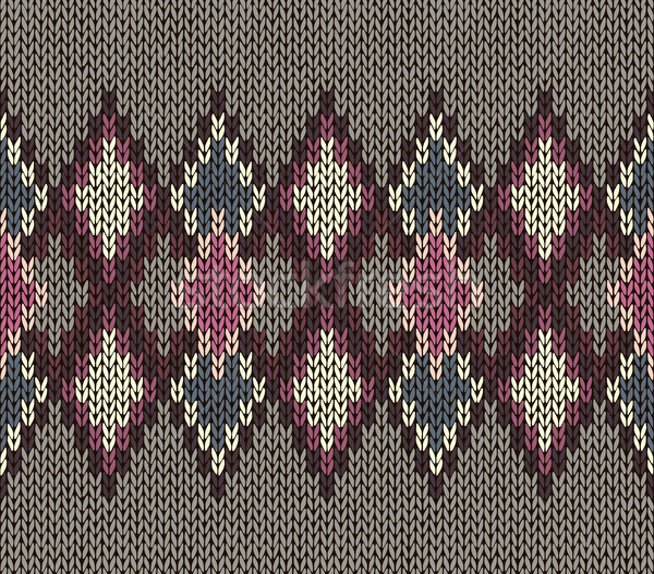 Seamless Knitted Pattern. Vinous White Brown Color. Fashionable youth modern style. Stock photo © ESSL