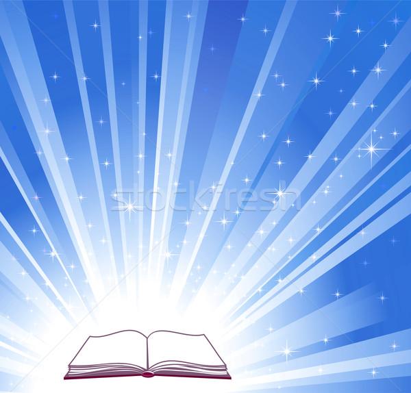 ストックフォト: 開いた本 · 青 · 明るい · 学校 · 抽象的な · 光