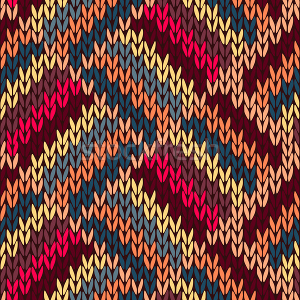 Style Seamless Brown Red Blue Yellow Color Knitted Pattern Stock photo © ESSL