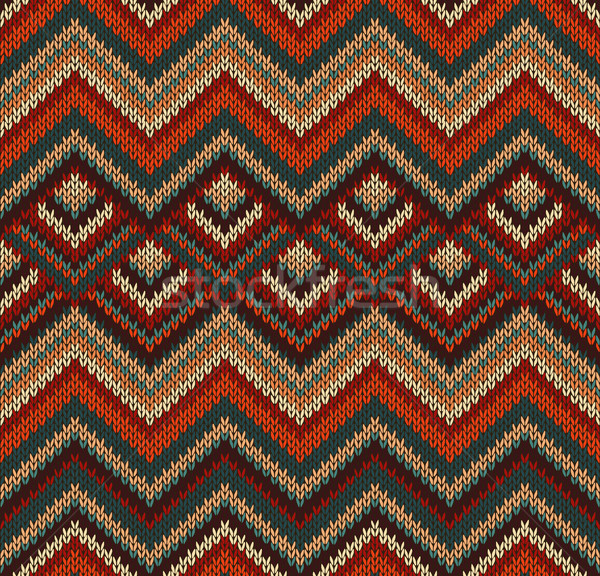 Beautiful Knitted Fabric Pattern, Red Green Knit Style Seamless  Stock photo © ESSL