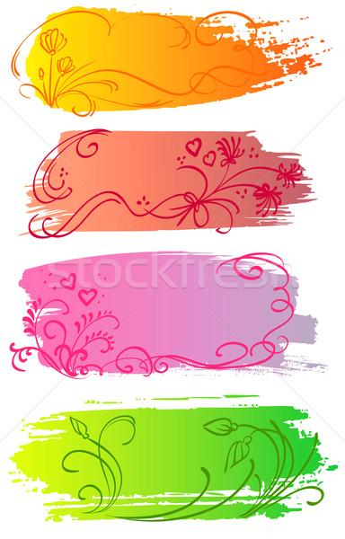 Foto stock: Flor · corazón · banners · floral · colorido · hierba