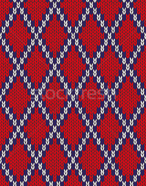 Knit woolen seamless jacquard ornament texture. Fabric Red White Stock photo © ESSL