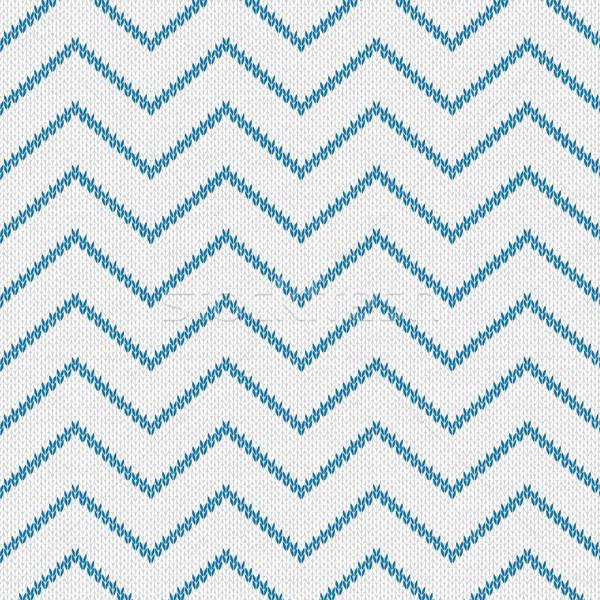 Stijl naadloos gebreid patroon Blauw witte Stockfoto © ESSL