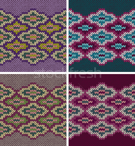 Knit Woolen Seamless Jacquard Ornament Texture. Collection of Fa Stock photo © ESSL