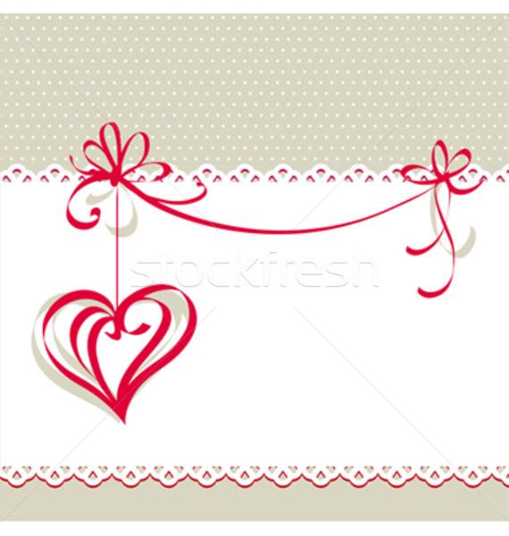 Saint valentin carte coeur texture lettre rouge Photo stock © ESSL