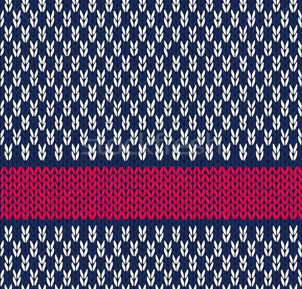Style Seamless Marine Blue White Red Color Knitted Vector Patter Stock photo © ESSL