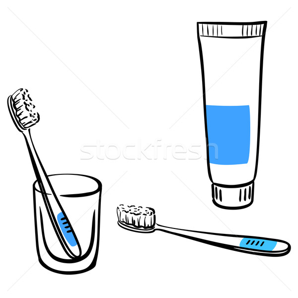 Set of icons for toothbrushing Stock photo © ESSL