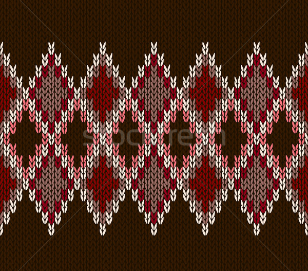 Style Seamless White Pink Brown Red Color Knitted Pattern Stock photo © ESSL