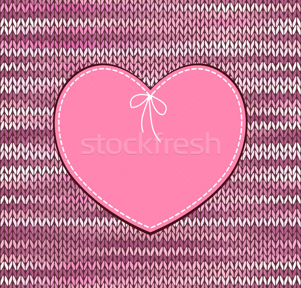 Vintage Heart Shape Design with Knitted Pattern Stock photo © ESSL