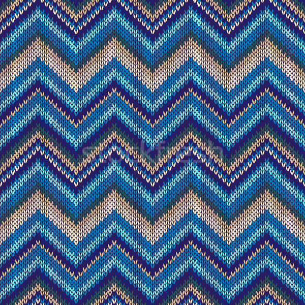 Seamless geometric ethnic spokes knitted pattern. Blue white beige color knitwear sample Stock photo © ESSL