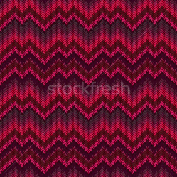Red Zigzag Wave Style Passion Seamless Ornamental Knitted Patter Stock photo © ESSL