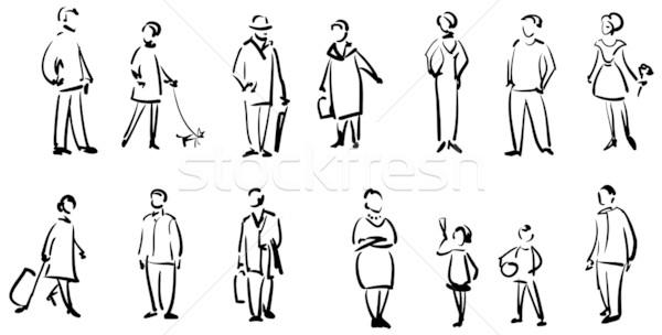 Pessoas esboço mulher família menina homem Foto stock © ESSL