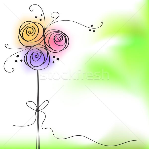 Carte de vœux couleur rose fleur fête jardin Photo stock © ESSL
