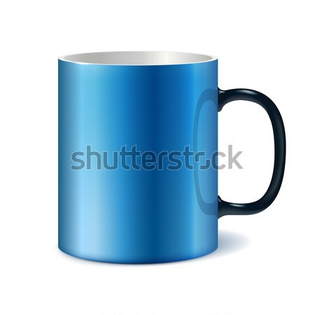 Stock photo: Blue and white ceramic mug for printing corporate logo.