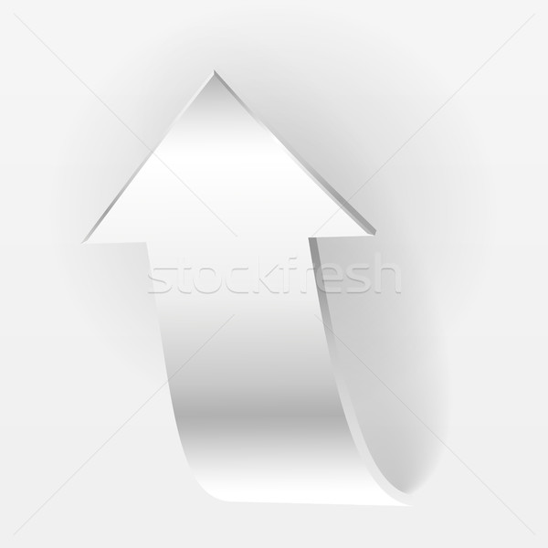 White arrow points backward and grey background Stock photo © ESSL