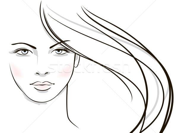 Mulher jovem cara longo loiro cabelo menina Foto stock © ESSL