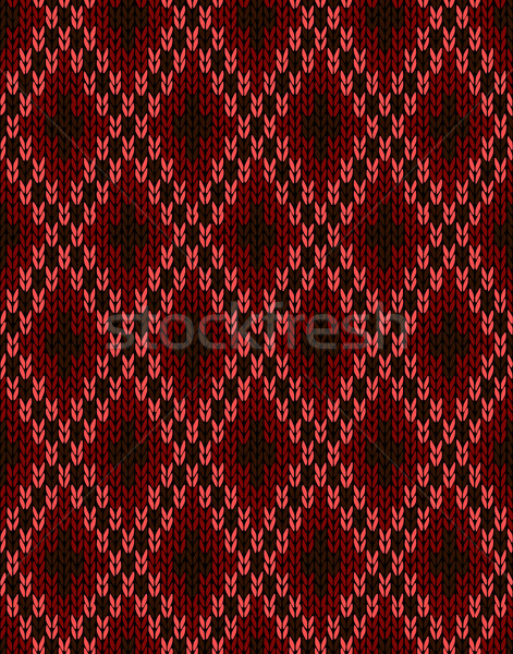 Style Knit woolen seamless jacquard ornament texture. Fabric Dar Stock photo © ESSL