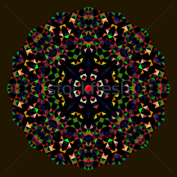 Digital Mosaic Circle. Creative Colorful style vector wheel. Red Stock photo © ESSL