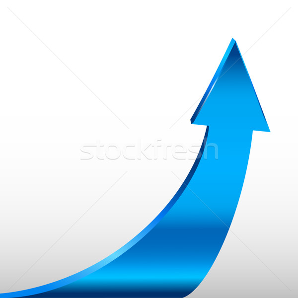 Cyan Blue arrow and white background. Stock photo © ESSL