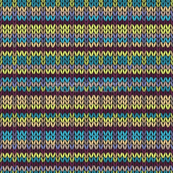 Knit Seamless Multicolor Striped Pattern. Blue Yellow Pink Vinou Stock photo © ESSL