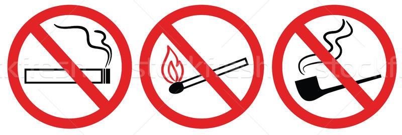no smoking sign, no fire, no match, vector symbol Stock photo © ESSL